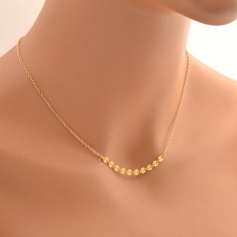 New Design Shimmer Gold Disc Necklace Small Tiny Coin