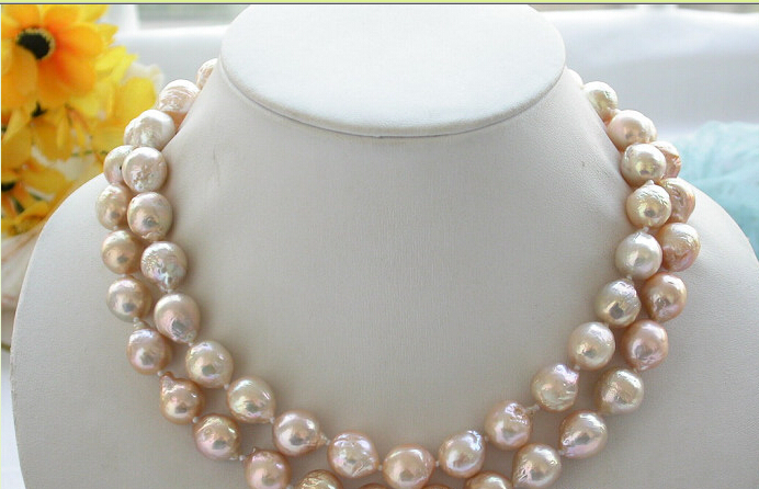 CB174  BEAUTIFUL 33 13mm lustre pink almost round keshi reborn PEARL NECKLACE 925ssCB174  BEAUTIFUL 33 13mm lustre pink almost round keshi reborn PEARL NECKLACE 925ss