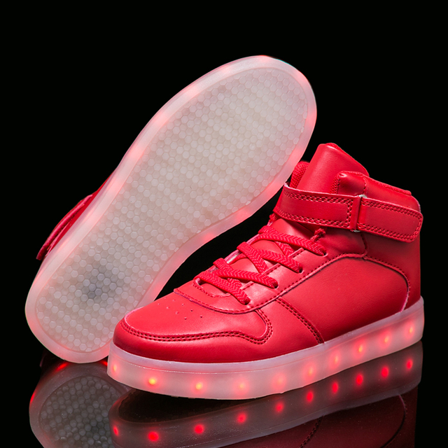 Warm like home Silver Gold 26-40 USB Charger Glowing Sneakers Led Children Light Shoes Boys Girls illuminated Luminous Sneaker