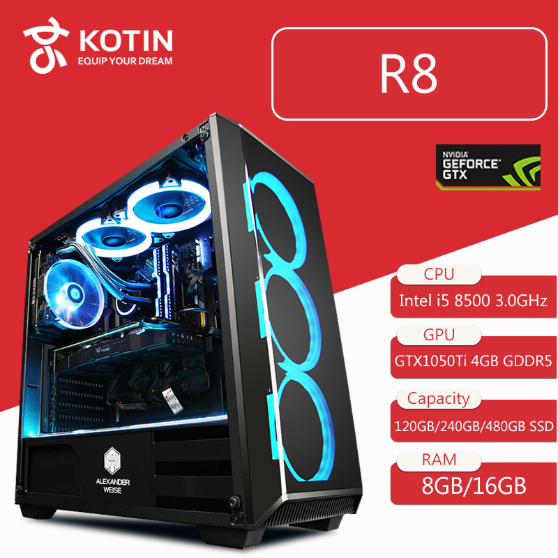 Getworth R8 Intel i5 8500 3.0 ghz GTX 1050Ti Gaming PC Desktop Del Computer 120 gb SSD 8 gb DDR4 2666 di RAM 6 Trasporto Blu Ventole Scrivania A Casa PC