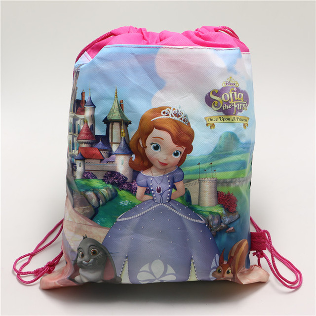 1PCS Non Woven Fabric Drawstring Backpacks Sofia Princess Birthday Return Gifts Kids Girls Travel Bag