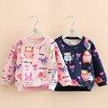 Детские каракули футболка 2016 осень и зима девочка детская clothing ребенок о-образным вырезом флис wt-7009