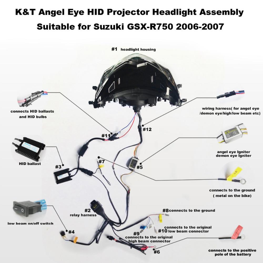 small resolution of kt headlight for suzuki gsxr750 gsx r750 2006 2007  led angel eye 2001  2005 gsxr 1000 wiring diagram