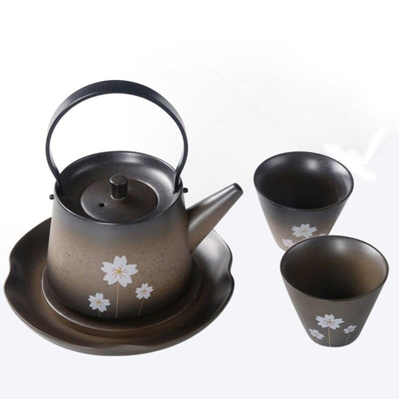 Fleurs de cerisier japonais kungfu thé cérémonie ensemble fait à la main poterie brute théière un pot deux tasses palette cadeau boîte teaware - 5