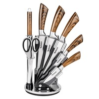 Velaze 8 Piece Stainless Steel Kitchen Knives Set with Spinning Block Chef Slicing Bread Fruit Paring Knife Set Accessories