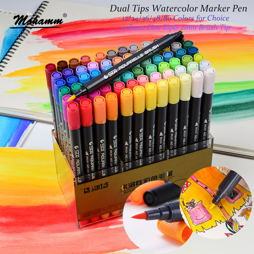 STA 12/24/36/48/80 colores Dual Tips acuarela pincel rotulador Set con punta Fineliner para colorear libros dibujo resaltado