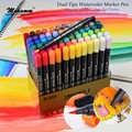 STA 12/24/36/48/80 colores juego de pinceles de acuarela con punta fina para colorear libros y dibujar