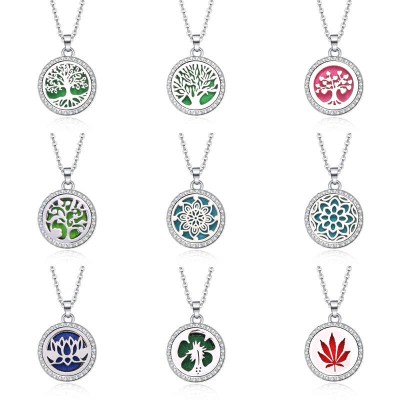 Tree Of Life Aroma Box Jewelry With rhinestone Aromatherapy Essential Oil Diffuser Perfume Box Lockets Pendant Necklace
