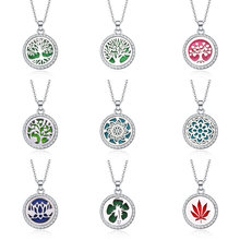 Tree Of Life Aroma Box Jewelry With rhinestone Aromatherapy Essential Oil Diffuser Perfume Box Lockets Pendant Necklace(China)