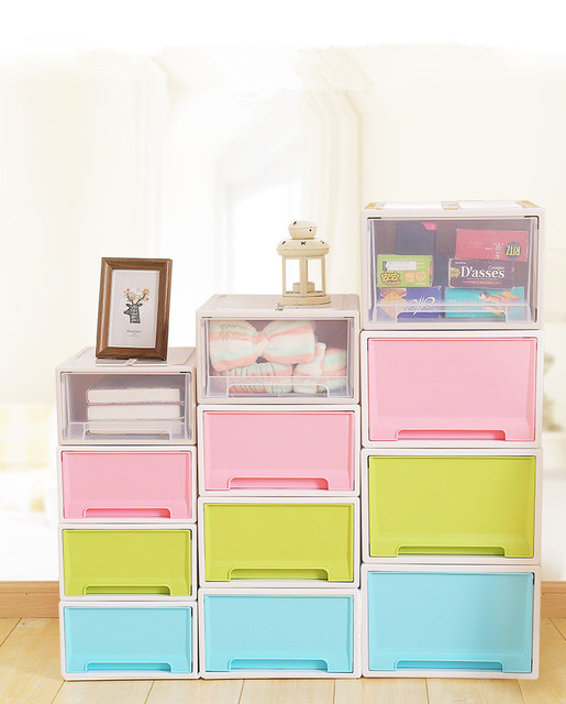US $11 99 |1PC New Thickened Single Layer Plastic Drawer Storage Box  Organizer Solid Toys Shoes Storage Box Case Combined Drawer OK 0455-in  Storage