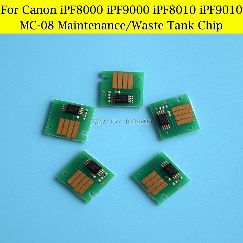 MC-08 Chips para Canon iPF8000 iPF8010 iPF9000 IPF9010 IPF8110 IPF8100 IPF9100 IPF9110 residuos tanque de tinta/depósito de mantenimiento