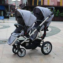 Детская коляска с высоким пейзажем, большая и маленькая детская коляска, детская коляска с двумя колесами, может сидеть и лежать, надувные шины