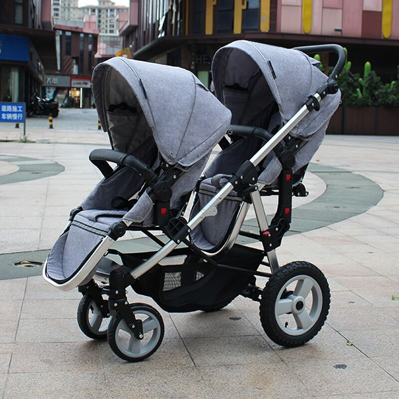 twin baby high landscape stroller  big and small  baby pram  two child trolley can sit and lie Inflatable tires