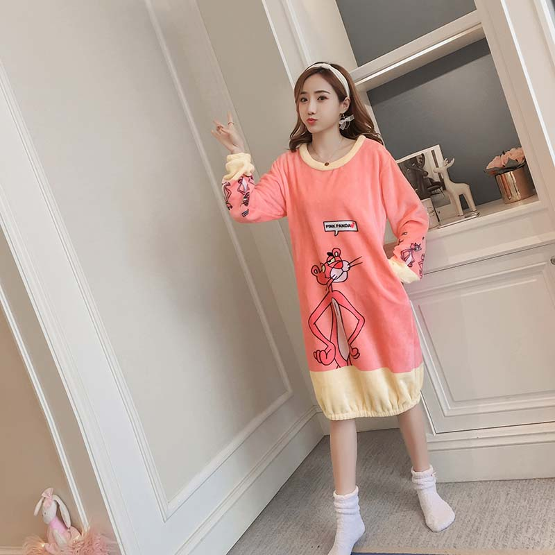 Women Flannel   Nightgowns     Sleepshirts   2018 Winter Home Dress cartoon Sleepwear Loose warm Nightdress Indoor Fashion Clothes