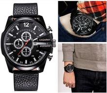 Marca de lujo Gran Dial Relojes de Los Hombres Militar montre Deporte de Cuero correa de Reloj de Cuarzo hombre reloj dz Hombre Reloj Festina Para hombres