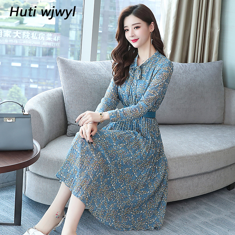2019 Autumn Winter Vintage Chiffon Floral Midi Dress Plus Size Maxi Boho Dresses Elegant Women Party Long Sleeve Dress Vestidos 56