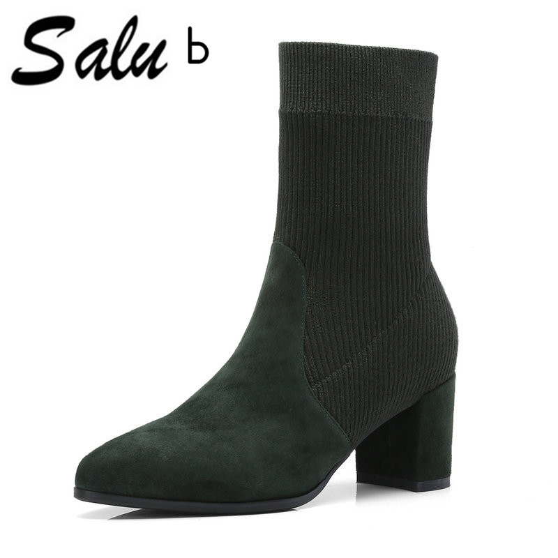 Salu Genuine Leather Women Boots Natural Suede Leather Ankle Boots for Women Fashion pointed Toe Thick High Heel Ladies Shoes xiangban handmade genuine leather women boots high heel ankle boots pointed toe vintage shoes red coffee 6208k11