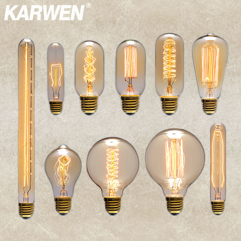 KARWEN Vintage Edison Bulb E27 Retro Lamp 220V 40W Ampoule Incandescent Light A19 ST64 T45 G80 G95 For Home Decor Creative Bulbs