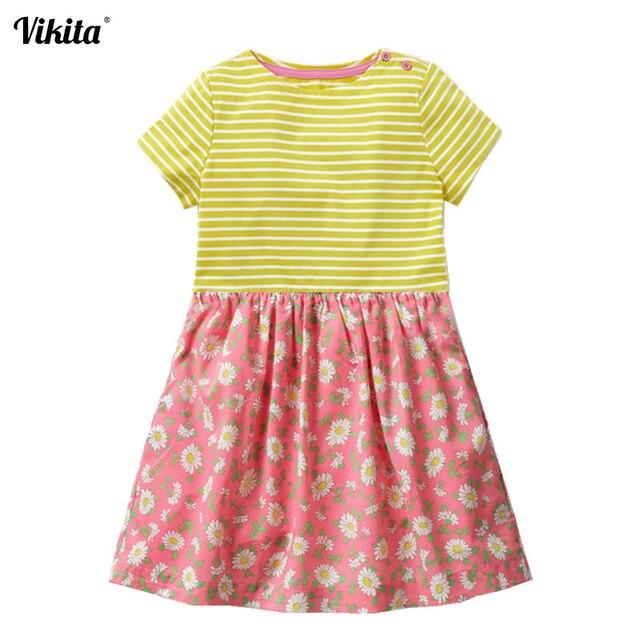f1d5c481ae3c6 VIKITA enfants robes pour filles vêtements 2019 été casual bébé fille robe  avec Animal Applique enfants coton rayé robe
