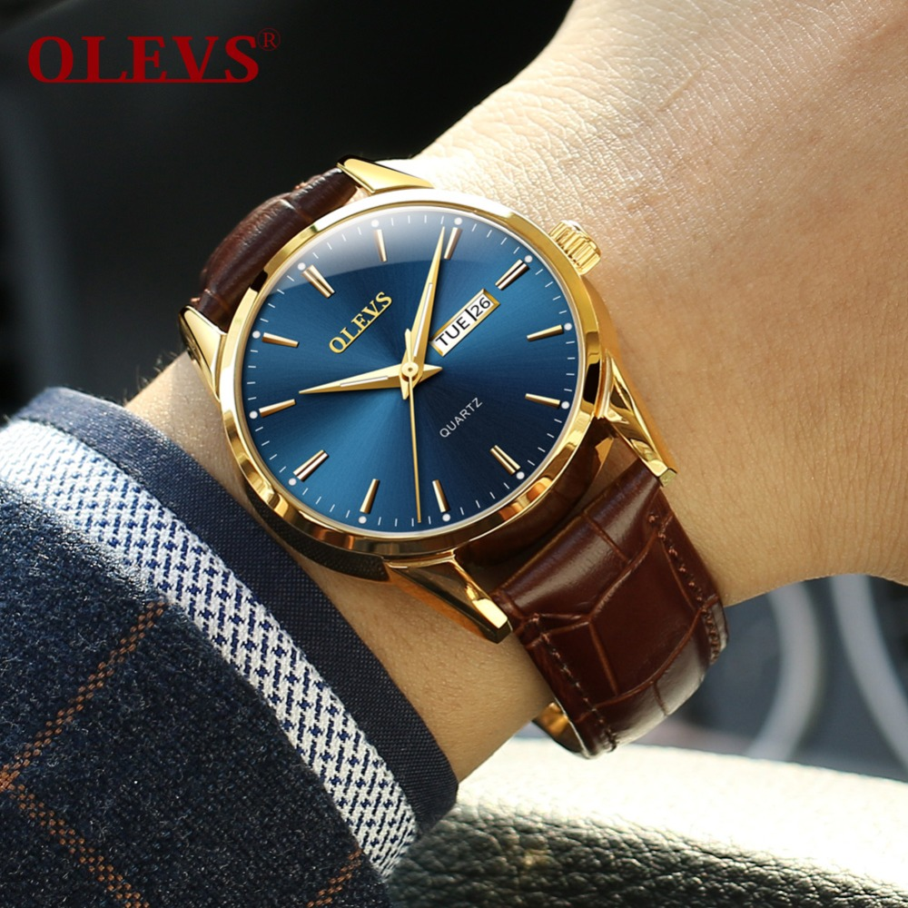 Mens Watches Top Brand Luxury OLEVS Fashion Watch Men Leather Quartz Watch For Male Auto Date Rose Gold Shell relogio masculino olevs fashion mens sport watches auto date rose gold leather quartz watch reloj hombre 2017 male clock hour relogio masculino