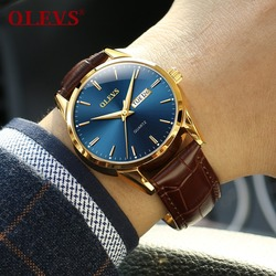 Mens Watches Top Brand Luxury OLEVS Fashion Watch Men Leather Quartz Watch For Male Auto Date Rose Gold Shell relogio masculino