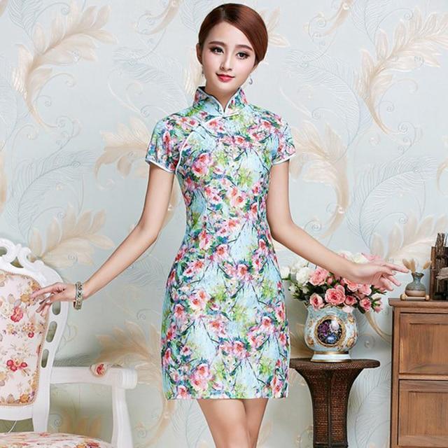 Chinese Vintage Style Women s Sexy Formal Rayon Cheongsam Flower Mandarin  Collar Qipao Short Mini Dress S M L XL XXL JY086 bebc83f44394