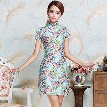 Çin Vintage stil kadın seksi resmi Rayon Cheongsam çiçek Mandarin yaka Qipao kısa Mini elbise S M L XL XXL JY086