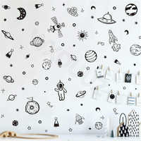 Space Wall Decal 79Pcs Solar System Planet Wall Sticker for Kids Room Classroom Decoration Minimalist Planets Stars Vinyl Decal