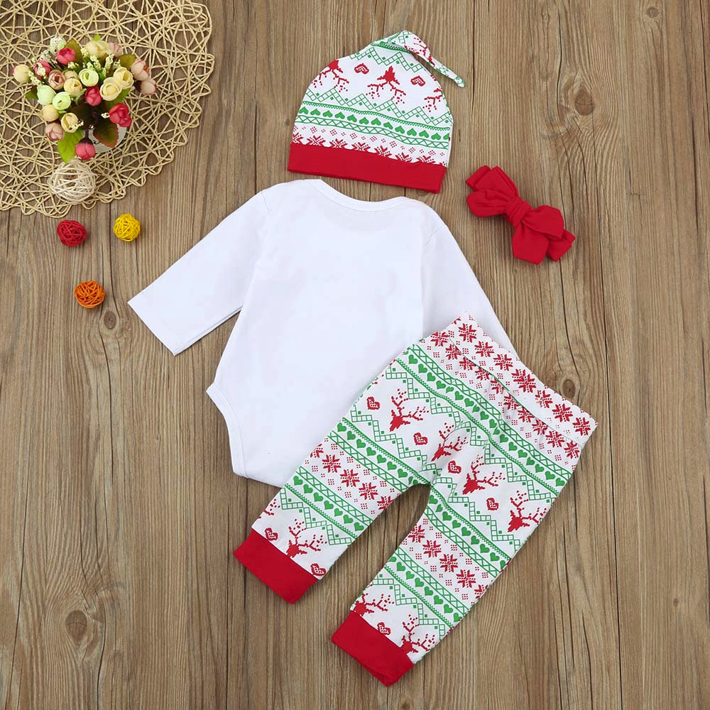 266830b47 4Pcs Infant newborn clothes Baby Boy Girl cute Romper  Tops+Pants+Hat+Headband Christmas Outfits Set Best Gift Ever body  infantil-in Bodysuits from Mother ...