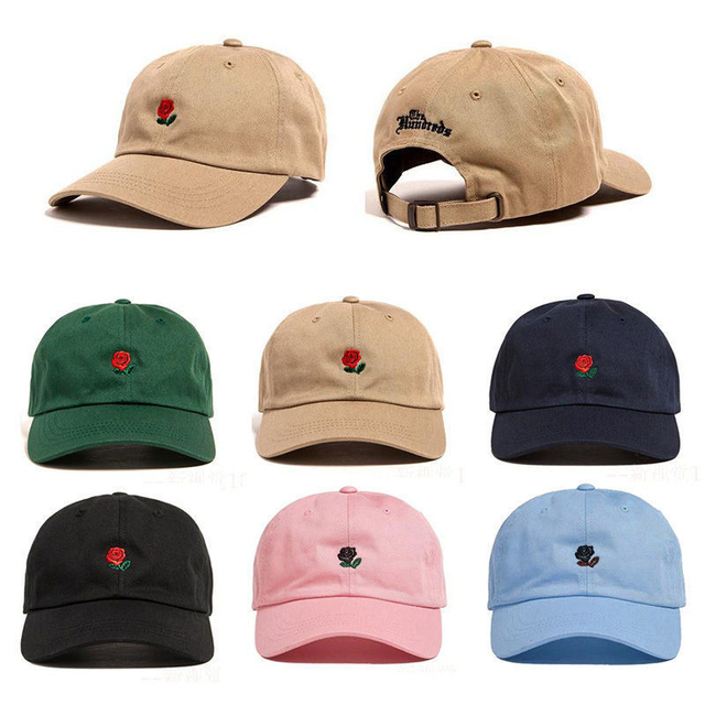 4e0bc2b9993 The Hundreds Rose Embroidered Hat Baseball Cap Fashion 2017 Unique  Adjustable Embroidered Rose Casual Hats