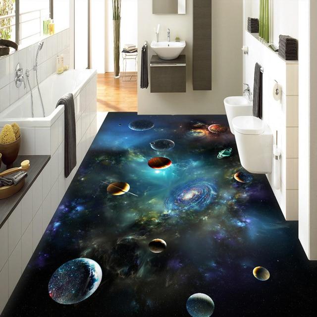 Fototapete 3D Stereo Universum Sternenhimmel Bodenfliesen Wandmalereien Bad  Kinder Schlafzimmer PVC Wasserdichte Rutschfeste Tragen 3 D