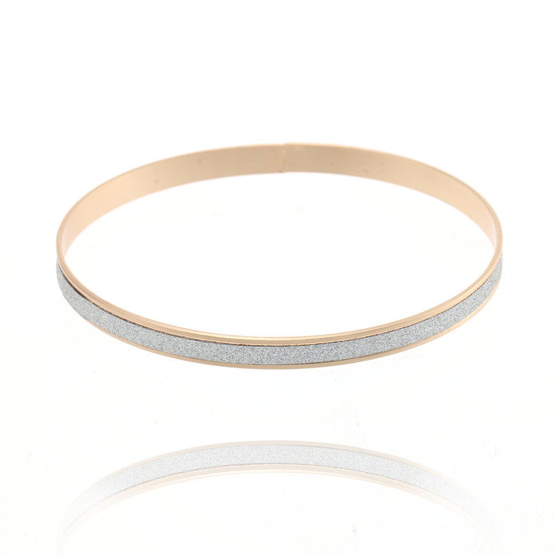 Classical Single Round Frosted Silver Rose Gold Bracelet For Women Can Superposition Wear Bangles Lady Girl Favourite Jewelry