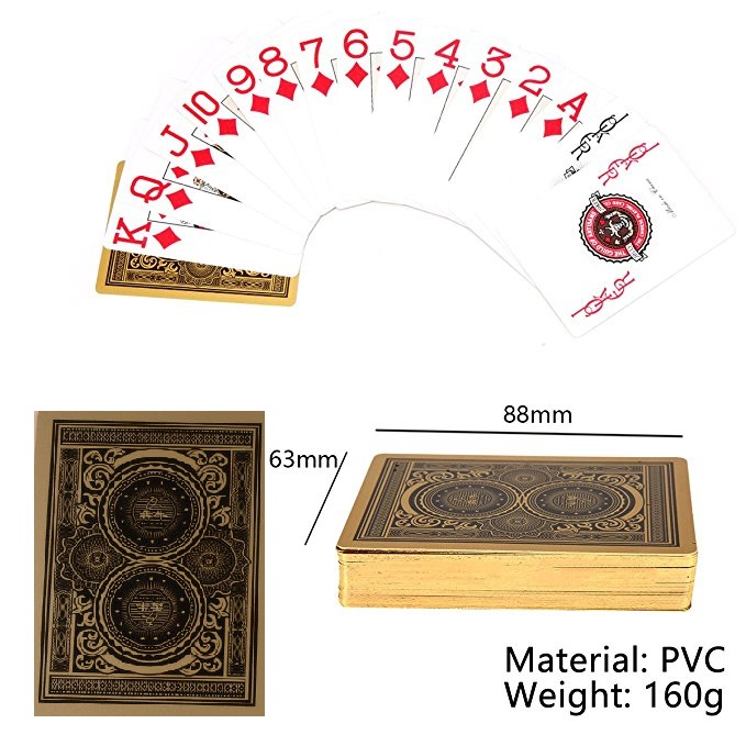 PVC Plastic Poker Playing Cards Banker Gold Texas Hold'em Magic Props Party Waterproof Gambing Luxury Free Delivery