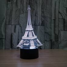 3D illusion eiffel tower table decorations LED desk lamp as gift free shipping FS-2821