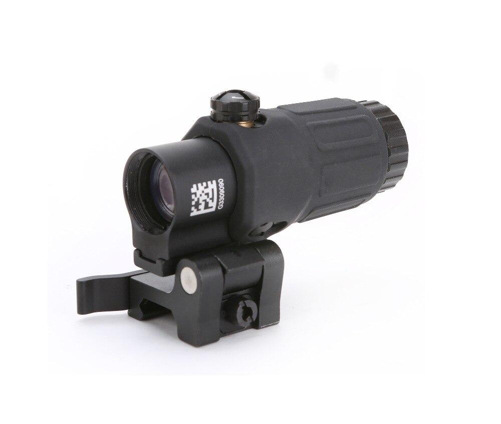 Lupa SPINA optica G33 Airsoft 3X con interruptor a lado montaje rápido desmontable QD para caza arena negra y rojo color