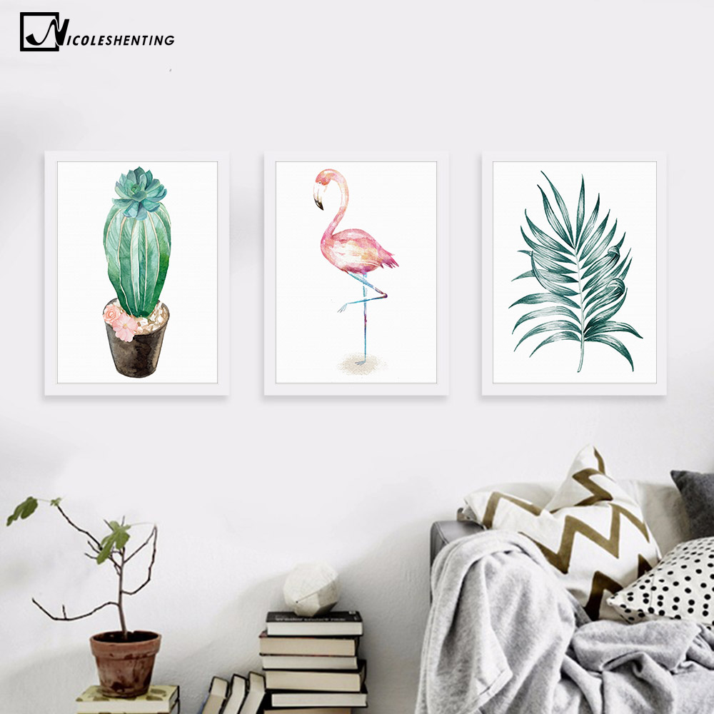 Aquarel Plant Cactus Bladeren Flamingo Minimalisme Kunst Canvas Poster Schilderij Boom Bloem Modern Muur Picture Woondecoratie
