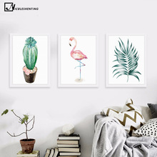 Watercolor Plant Cactus Leaves Flamingo Minimalism Art Canvas Poster Painting Tree Flower Modern Wall Picture Home Decoration