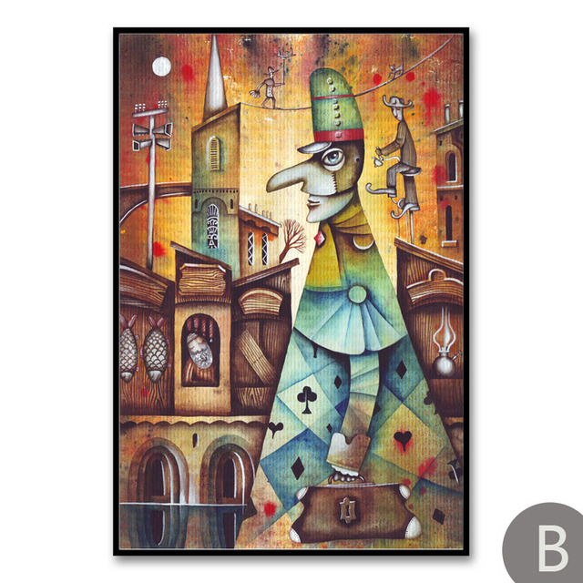 Strange Vintage Fantasy City Dream Boat Stars Abstract Fairy Posters Print Art Canvas Painting Home Pictures Room Home Remodeling Inspirations Basidirectenergyitoicom