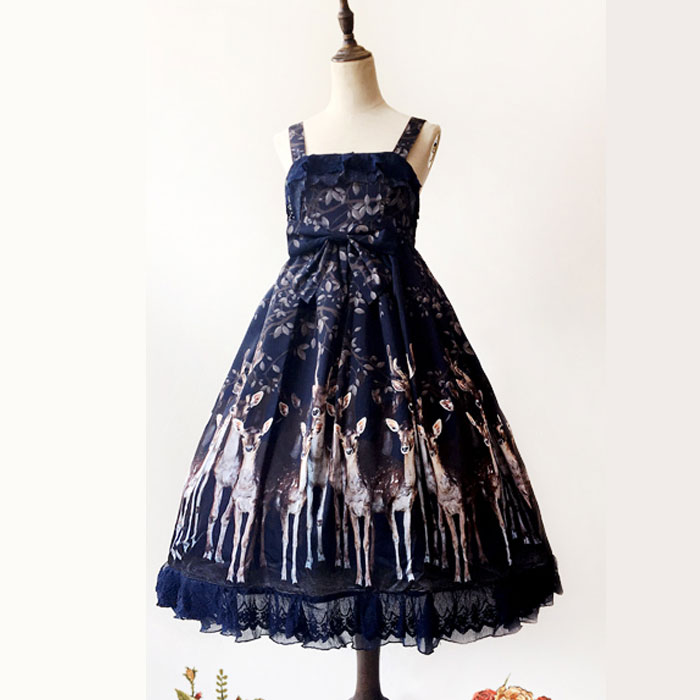 Sweet Milu Deer Printed Lolita Dress Gothic High Waist Sleeveless Midi Dress by Infanta