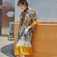 Summer Bohemian Chiffion Flower Printing Dress Women Loose Ruffles Casual Dresses Clothes