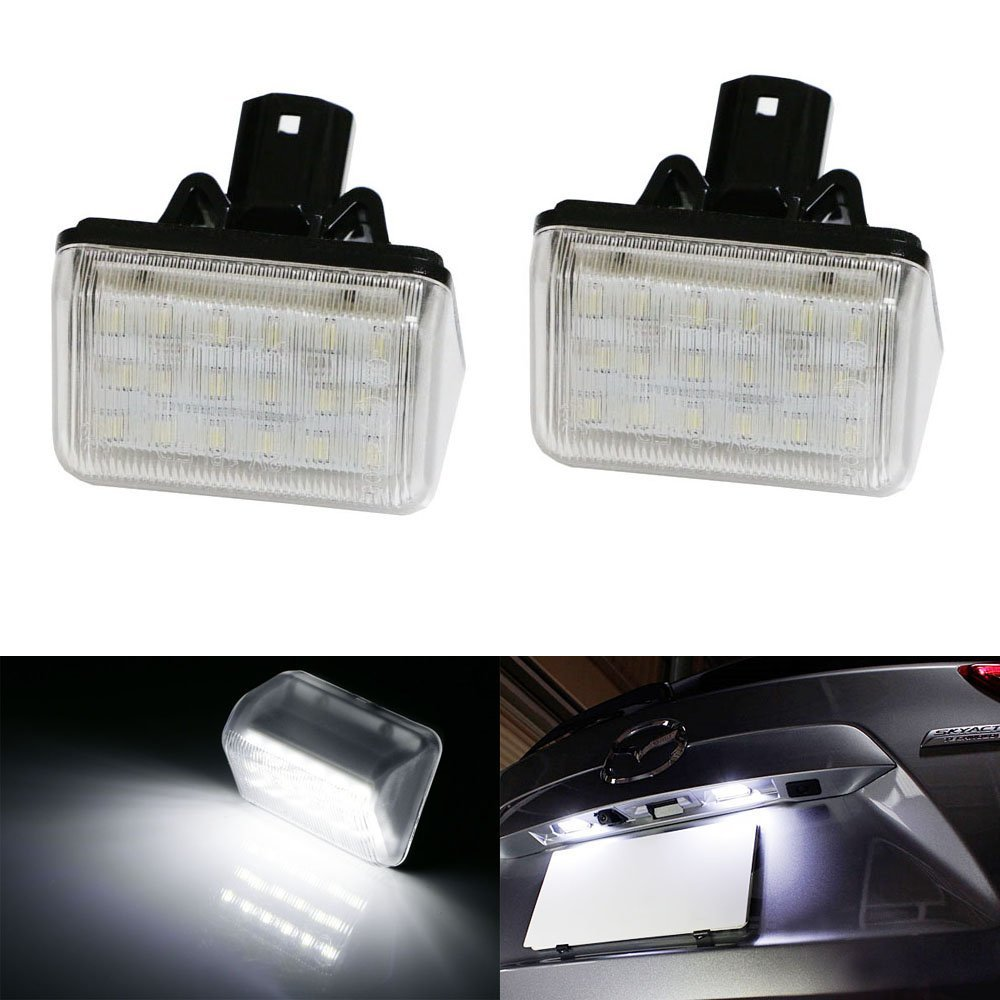 2pcs Xenon White OE-Replace LED License Plate Lights For Mazda CX5 CX7 6 Mazdaspeed6 deechooll 2pcs wedge light for mazda 2 3 5 6 mx5 rx8 cx7 626 gf gg ge gw canbus t10 57smd 6w led clearance xenon lighting bulbs
