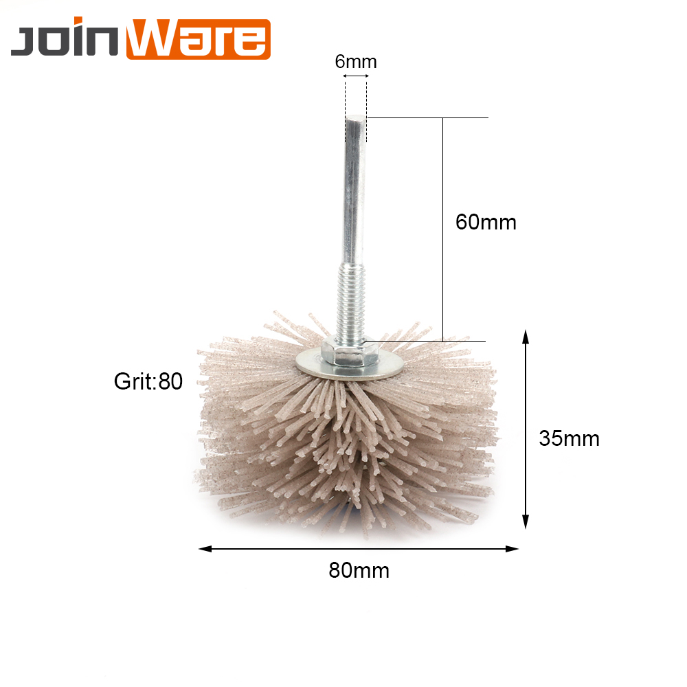 2Pcs 80MM Grinding Flower Head Abrasive Nylon Polishing Wheel Wear-resistant Brush For Wood Furniture Mahogany 80# Shank Dia 6MM