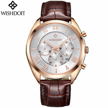 цена на 2018 Mens Watches WISHDOIT Brand Luxury Casual Military Quartz Sport Wristwatch Leather Strap Male Clock Watch Relogio Masculino