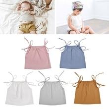 Новейший Летний хлопковый топ на бретелях для маленьких девочек, футболка без рукавов, топ с завязками на плечах для новорожденных, MAY14-A
