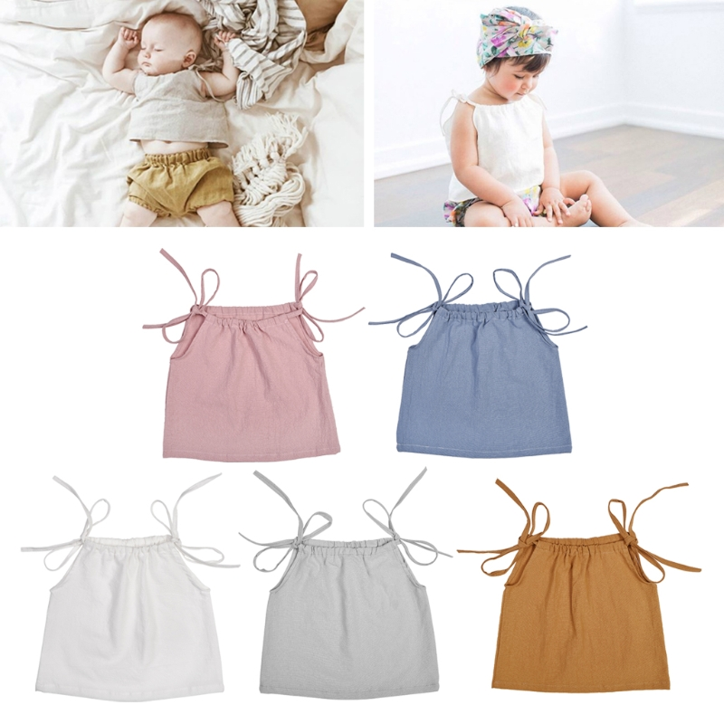 Newest Summer Baby Girl Cotton Strap Top Sleeveless T Shirt Newborn Shoulder Tie Top MAY14-A