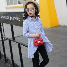 Синие рубашки для девочек для школы, новинка года, блузки для девочек с отложным воротником однотонные топы, одежда для детей-подростков, Bs062