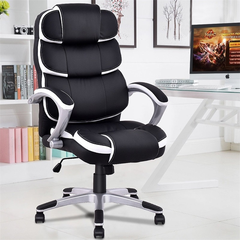 High Quality Ergonomic PU Leather High Back Computer Chair Black White Executive Boss Office Chair HW51323