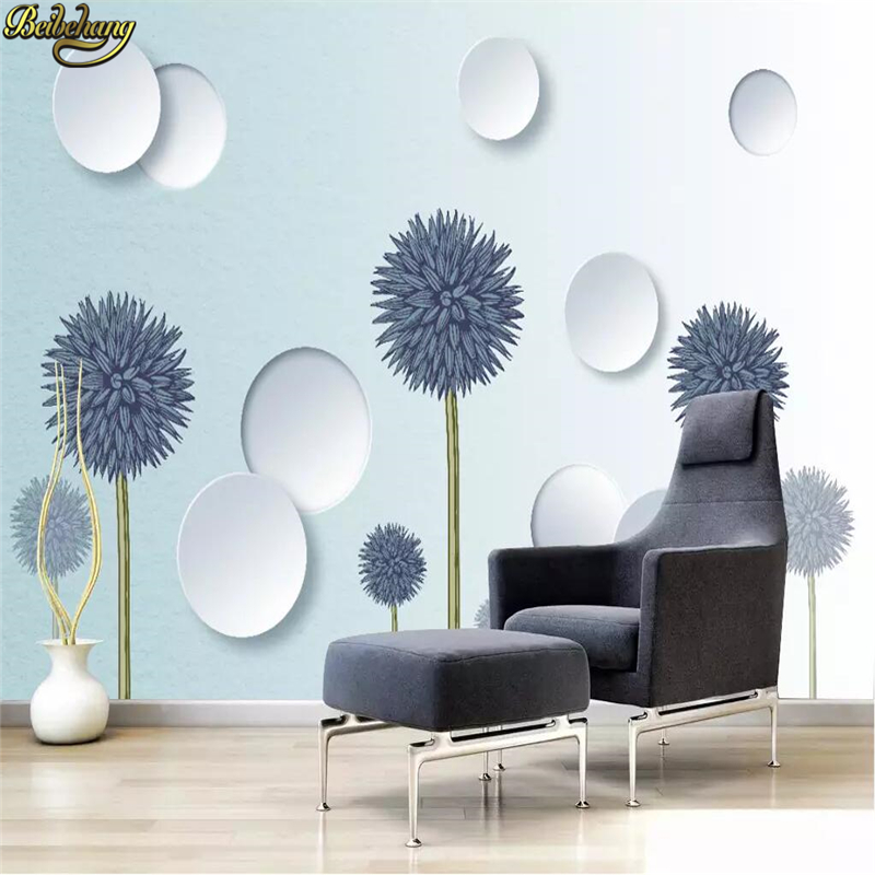 Beibehang Custom 3d Wallpaper Mural Simple Modern Light Blue Dandelion Circle 3D Solid Background Wall Papers Home Decor
