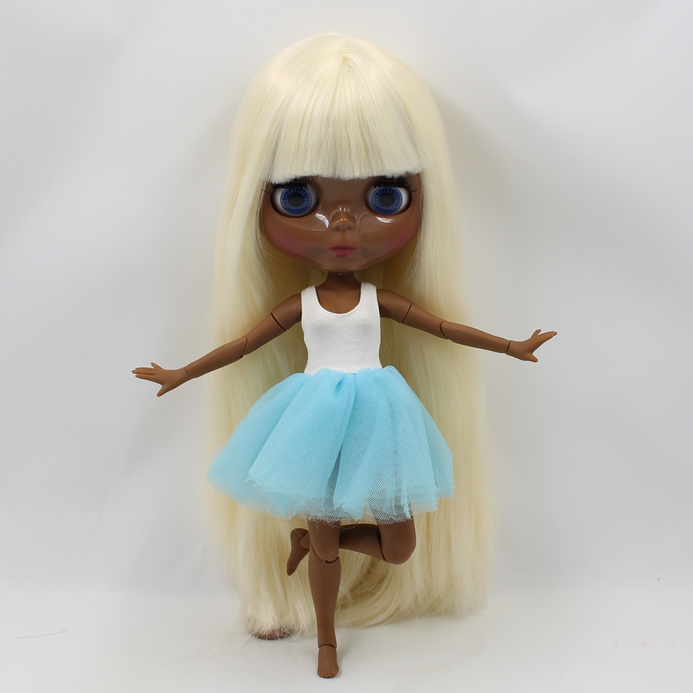 Super Tan Blyth doll light golden straight hair with bangs bjd 1/6 joint body 30cm fashion nude blyth doll toysSuper Tan Blyth doll light golden straight hair with bangs bjd 1/6 joint body 30cm fashion nude blyth doll toys