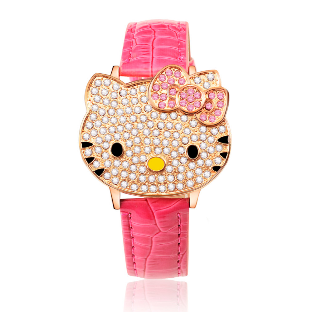 Women Watches Children Watches Hello Kitty Printing Strap Cartoon Kids Watch Pink Red Wristwatch Clock saat relogio relojes new arrived hello kitty cartoon watches pu leather girls kids quartz watch student watch mujer relojes rhinestone children clock